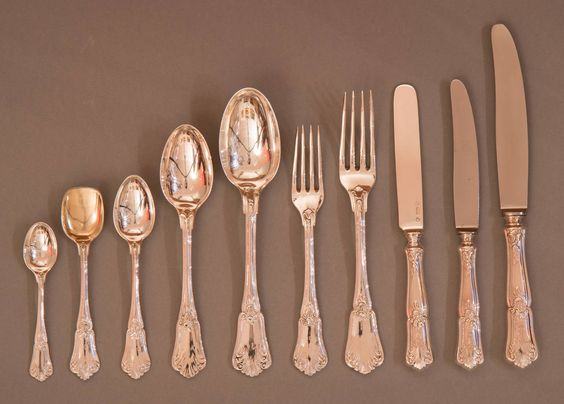 Flatware Service for 12 by Joseph Carl Klinkosch, Vienna | From a unique collection of antique and modern tableware at https://www.1stdibs.com/furniture/dining-entertaining/tableware/