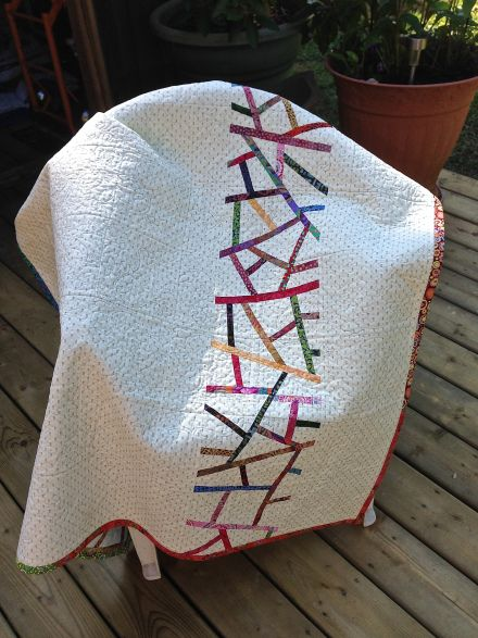 """Back of Pick-up-Sticks Quilt - inspiration from a Weeks Ringle quilt - """"Lace"""""""
