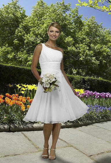 One shoulder tea length wedding dress wedding for One shoulder tea length wedding dress
