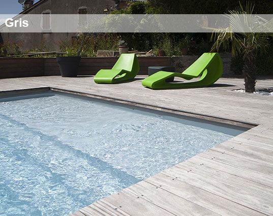 Liners de piscine gris terrasse pinterest for Liner pour piscine enterree rectangulaire
