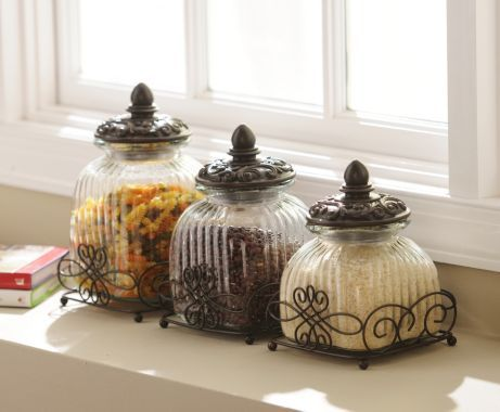 Loop glass canister set of 3 so cute design and coffee for Bathroom decor kirklands