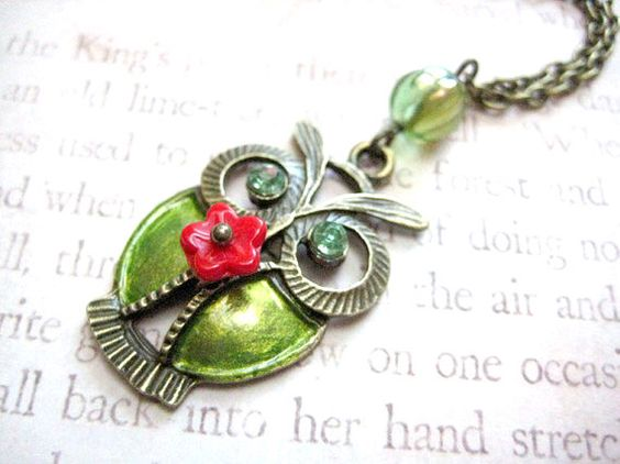 A personal favorite from my Etsy shop https://www.etsy.com/listing/69883424/green-owl-necklace
