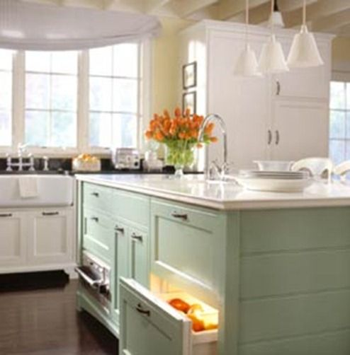 Light blue kitchen white cabinets design makeover for Green kitchen cabinets