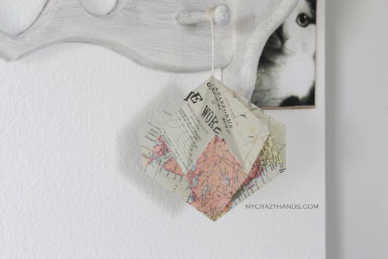 you always need a diam✧nd . origami diamond hanging decor . texture earth tones map -by mycrazyhands.com