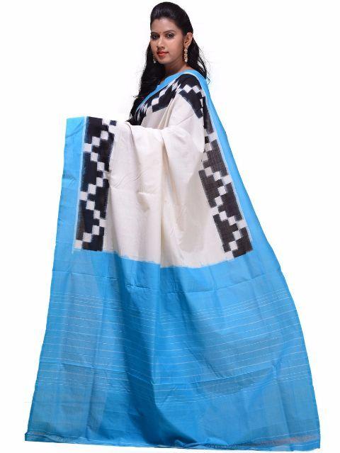 Buy Multicolor Pochampally Ikat Cotton Handloom Saree with Border Design