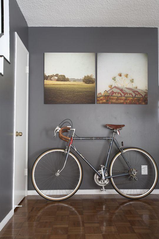 square prints, neutral wall.