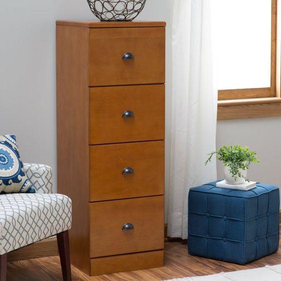 Belham Living Cambridge 4-Drawer Wood File Cabinet - Light Oak - CS-50319