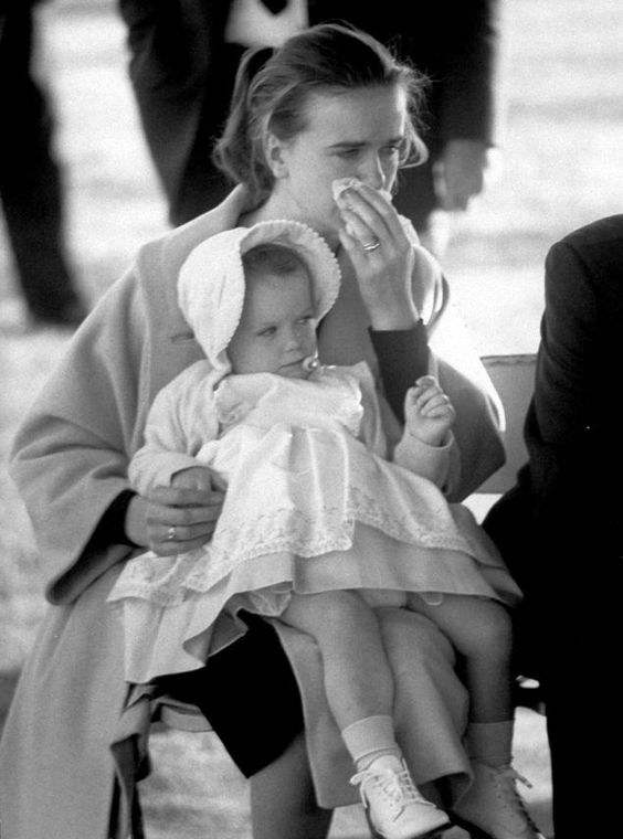 Marina Oswald at her husband's funeral after Jack Ruby fatally shot the accused assassin as he was being transferred to the county jail.
