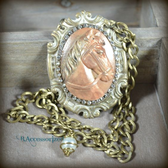 FUF 11/20: B.Accessorized Hand-colored Horse Cameo Necklace