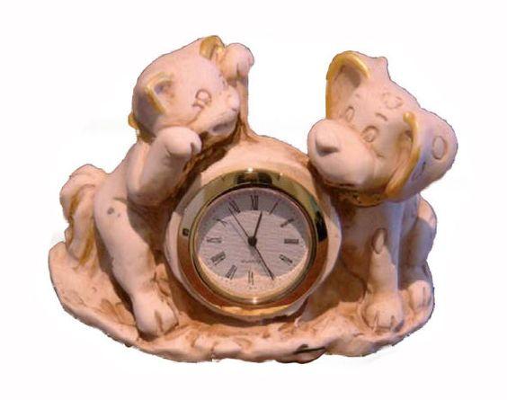 #orologi da tavolo in #ceramica #cane e #gatto #vintage