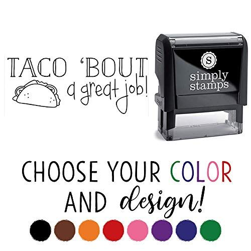Funny Self-Inking Teacher Stamps Cute Teacher Stamps Great Job - Taco 25 Design Choices!