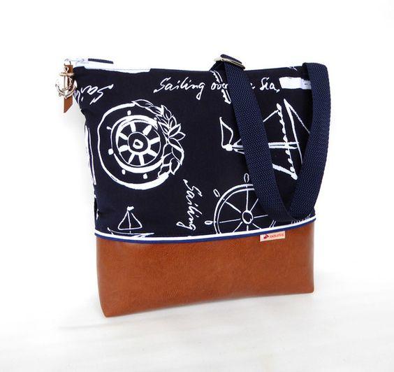 Schultertaschen - Maritime Schultertasche :: dunkelblau weiß - ein Designerstück von frau-kaliki bei DaWanda