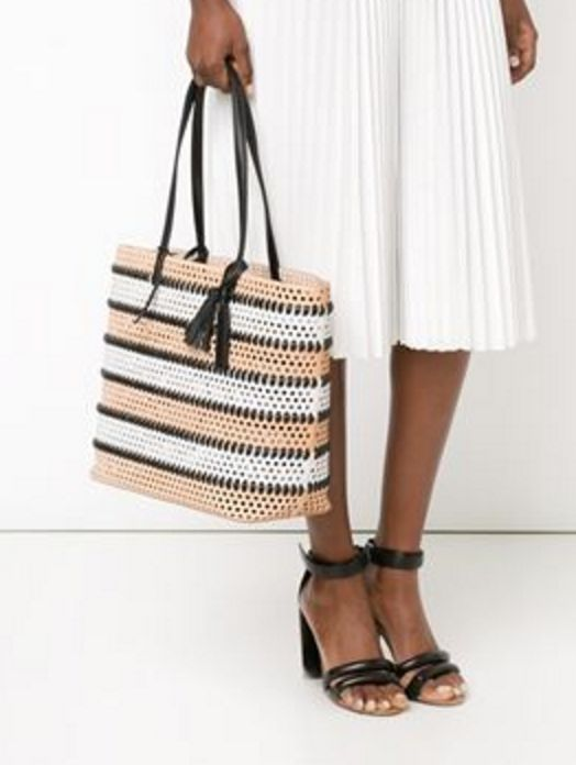 Nude and Black Perforated Beach Tote