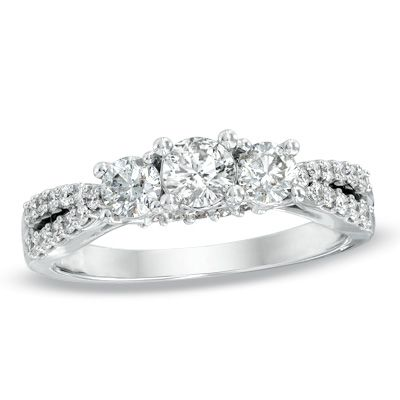 1 CT. T.W. Diamond Three Stone Engagement Ring in 14K White Gold - Zales