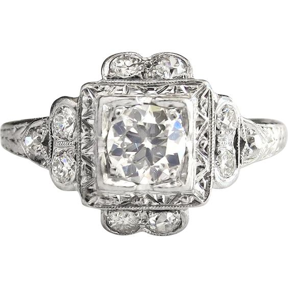 Vintage Art Deco 1930's .66ct t.w. Old European Cut Diamond Filigree Halo Engagement Ring Platinum from Jewelry Finds on RubyLane.com