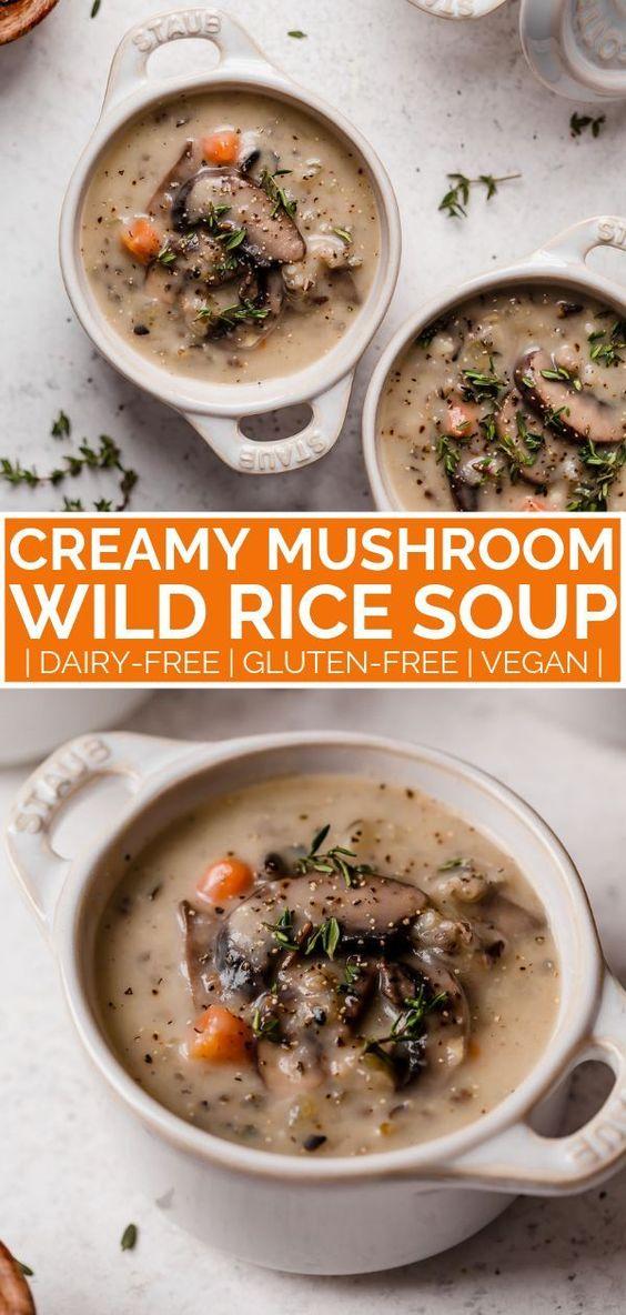 Creamy mushroom vegetarian wild rice soup