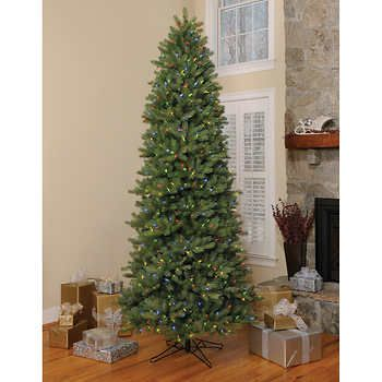 ge 9 ft artificial slim spruce pre lit led easy light technology dual color christmas tree - 9 Ft Slim Christmas Tree
