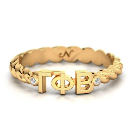 Gamma Phi Beta Yellow Gold Pavé Twist Letter Ring #14k-yellow-gold-vermeil…