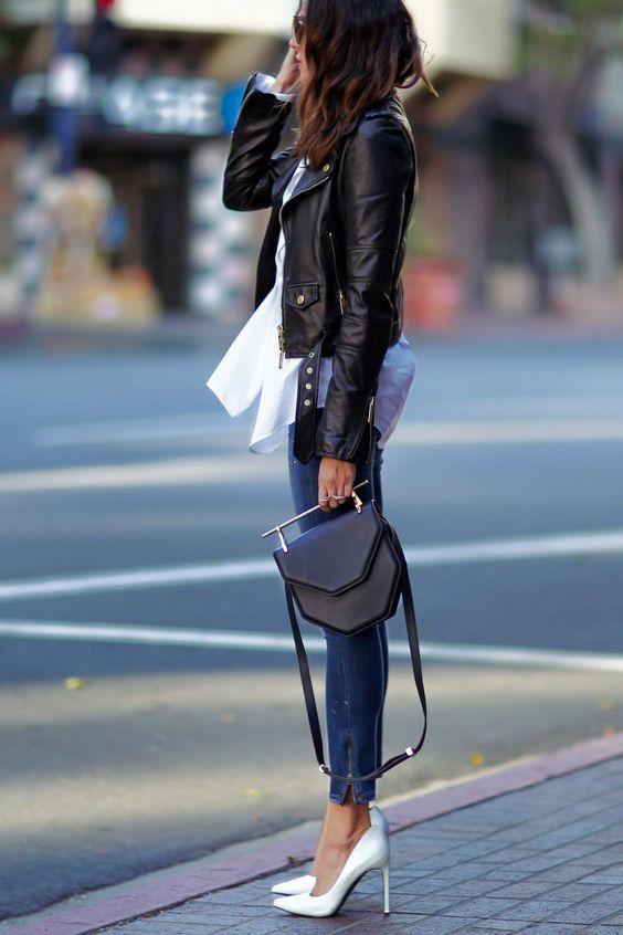Джинсы с кожаной курткой 2018: как модно носить? ♡