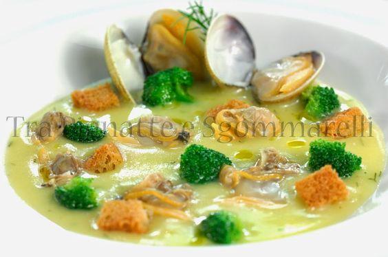 Crema di patate all'aneto, con vongole, broccoletti siciliani e crostini di pane all'aglio   Tra pignatte e sgommarelli