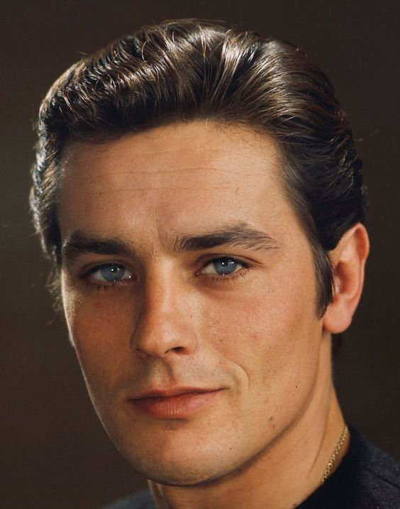 """Alain Delon Previous Pinner: """"I love the fact his looks aren't perfect-you can see the chin scar and a few pimples and thank God they didn't pluck his eyebrows."""""""