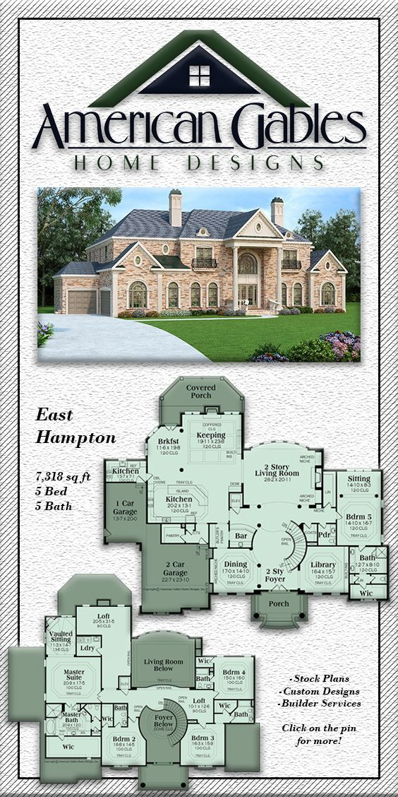 Luxury House Plan 7 318 Square Feet 5 Bed 5 Bath East Hampton Houseplans Floorplans Luxuryhouseplans7be Luxury Plan Luxury House Plans Dream House Plans