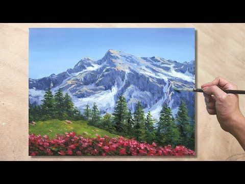 How To Paint Mountain Landscape Acrylic Painting Tutorial 27 In 2020 Mountain Paintings Painting Tutorial Acrylic Painting Tutorials