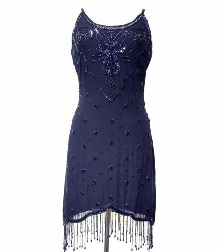d tails sur bnwt bleu gatsby robe bretelles fines soir e ann es 1920 taille 8 pour 20. Black Bedroom Furniture Sets. Home Design Ideas