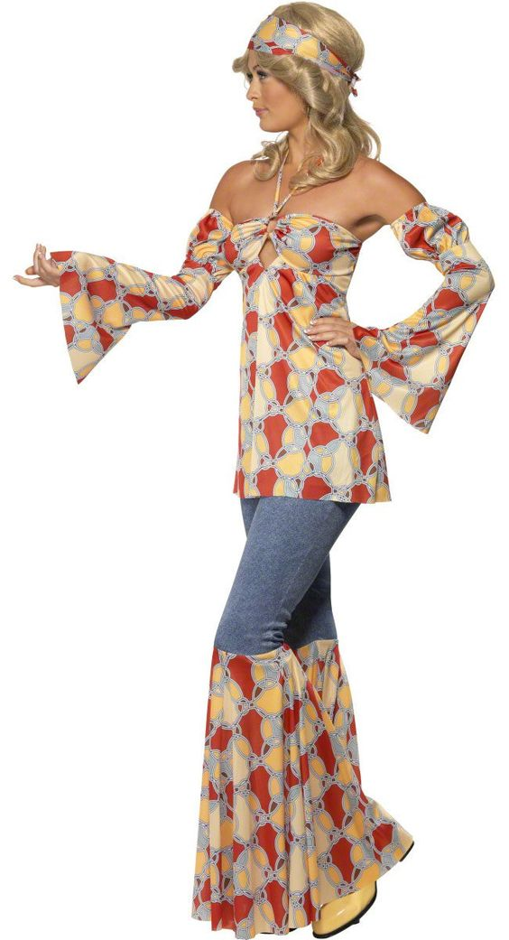 Bottom psychedelic flares will fit right in at any 1960s or 1970s summer of love and hippy themed fancy dress