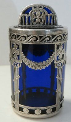 Antique Vintage Sterling Overlay On Cobalt Glass Dresser Jar/Box