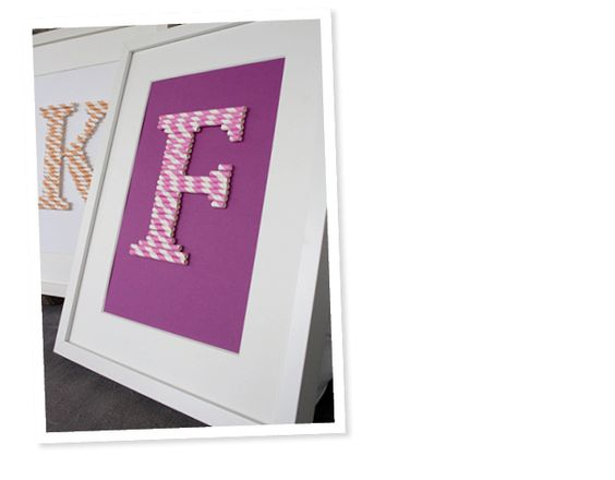 Monogram made from paper straws