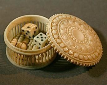 Antique ivory bowling game set