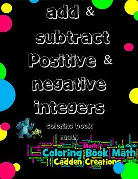 math worksheet : add subtract positive  negative integers coloring book monsters  : Adding And Subtracting Positive And Negative Integers Worksheet