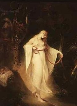 """Musidora, oil on canvas, by William Hamilton, British, 1751-1801. """"Give sorrow words. The grief that does not speak Whispers the o'er-fraught heart and bids it break."""" —Shakespeare"""