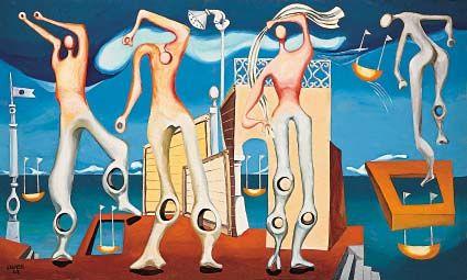 Eugenio Granell,  El placer del baño, 1943.