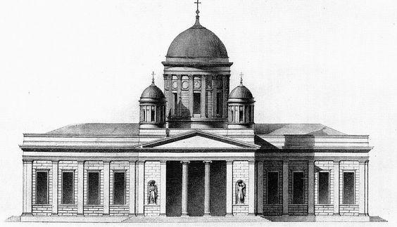 Schinkel Dom am Lustgarten, Umbauentwurf von Schinkel für den Boumann-Dom, bekanntlich in dieser Form ausgeführt, 1820