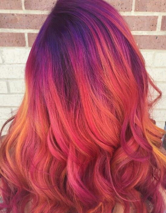 Love This Mix Of Colors Dyedhair Hairdye Magenta Hair Sunset Hair Hair Styles