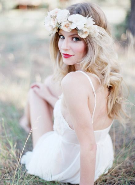 gardenia, rose, and blushing bride crown. Boudoir. Style Me Pretty | Gallery | Picture | #724280