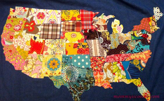 Cut, sew, and glue fabric remnants to make a fabric map of the U.S.