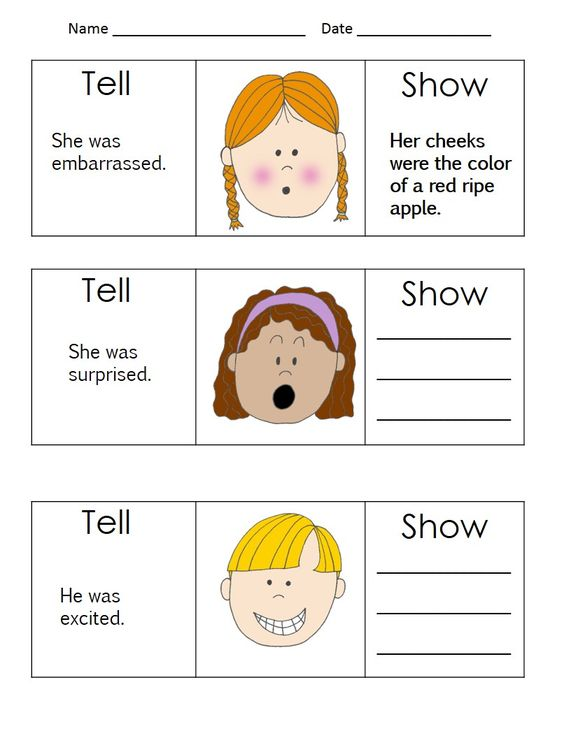 Show Don T Tell Worksheets