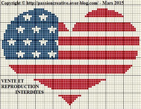 Grille gratuite point de croix : Coeur Américain - Le blog ...