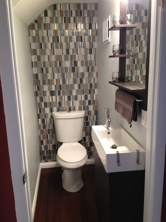 small bathroom with glass tile backsplash for the home pinterest