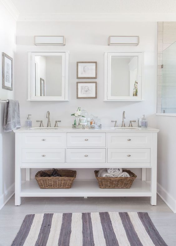 Master Bathroom: Roseland Project Renovation -- grey and white bathroom, home decorators Austell furniture vanity, Moen Banbury faucet, EVER Skincare: