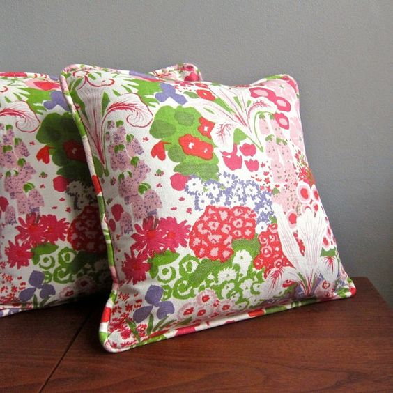 Vintage Fabric Pillow Cover - Pink and Green Floral by Greeff, 1970