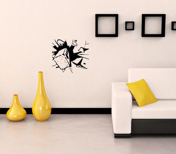 Wall Decor Stickers Pinterest : Wall decor vinyl decal sticker brick glass crackle da