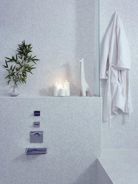 i like the small white-on-white glass mosaic tiles