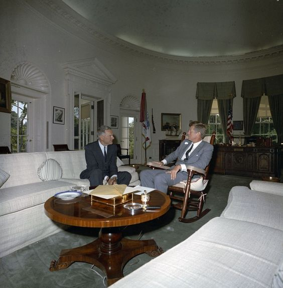 KN-C29679. President John F. Kennedy Meets with U.S. Ambassador to South Vietnam, Henry Cabot Lodge