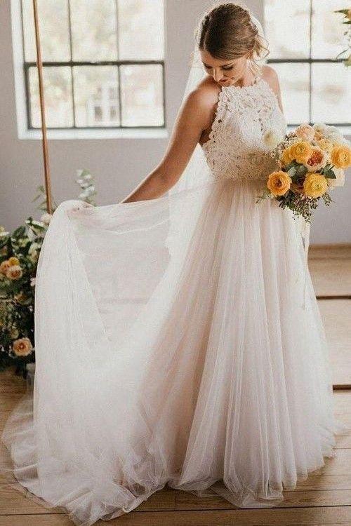 Lace Halter Boho Ivory Wedding Dresses With Tulle Skirt In 2020 Halter Wedding Dress Ivory Wedding Dress Wedding Dresses