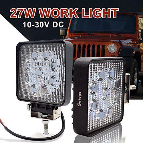 Safego 12v 24v 27w Led Spot Work Light Lamp For Truck Off Road Lights 4x4 Atv Tractor 30 Degree Square 27ws Sp Pack Of 2 Work Lights Led Work Light Lamp Light