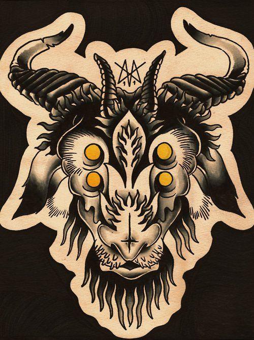 goat head tattoo ideas goats head tattoo tattoo flash pinterest tatuajes en la cabeza. Black Bedroom Furniture Sets. Home Design Ideas